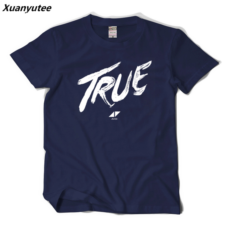 Xuanyutee DJ AVICII T shirt Homme Printed TRUE Music DJ Fans Cotton Short Sleeved O-neck EU 2XL Casual Summer Lovers T-shirt Men Футболка