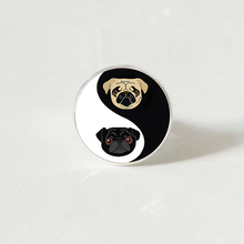 Yinyang Pug Glass ring Black and Tan Bulldog Dog Jewelry Gift for Pag Lovers Rescue Jewelry.