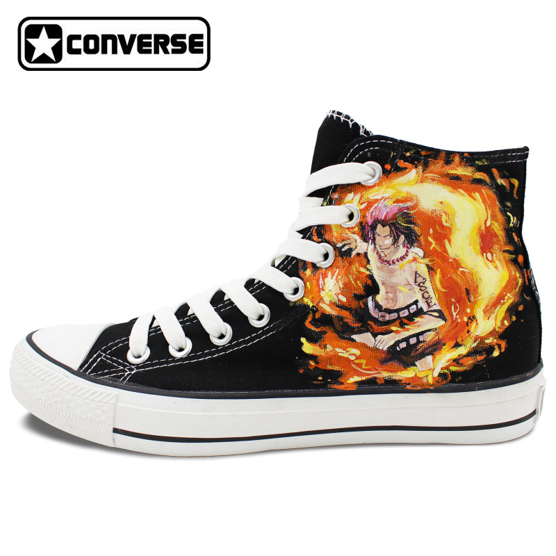 One Piece Converse Chuck Taylor Anime Shoes Man Woman ACE Design Hand Painted Canvas Shoes Women