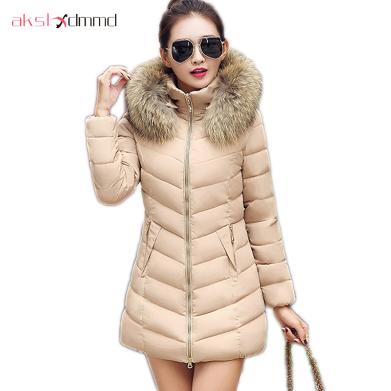 AKSLXDMMD Plus Size Women's Winter Jacket 2017 New Thick Fur Collar Hooded Padded Coat Slim Female Jackets Parkas LH1067 akslxdmmd parkas mujer 2017 new winter women jacket fur collar hooded printed fashion thick padded long coat female lh1077