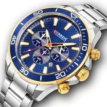 Curren Для мужчин s часы лучший бренд класса люкс Нержавеющаясталь кварцевые военные часы наручные хронограф Для мужчин часы Дата Наручные часы 8309