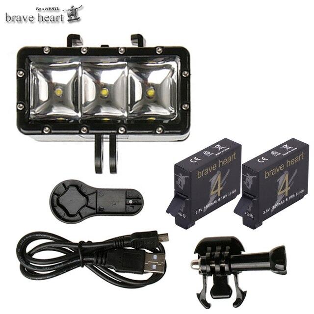 brave heart hero4 battery Underwater Diving LED flash Light For GoPro Go pro Hero 5 4 3 SJCAM sj4000 Xiaomi Yi Accessories