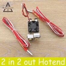 1 Set Chimera Ekstruder Çift Meme Uzaktan 2 IÇINDE 2 OUT Hotend Kitleri 0.4mm 1.75mm Çok Ekstrüzyon v6 Çift Kafa 3D Yazıcı parça...