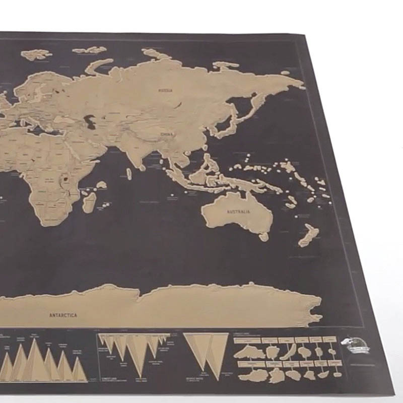 MIRUI Deluxe Black Scratch Off Map World Map Best Decor School Office Stationery Supplies