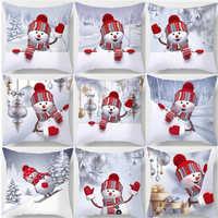 45*45Cm Feliz Año Nuevo navidad Santa Claus decoraciones de navidad para el hogar algodón alce funda decorativa para almohada adornos de navidad