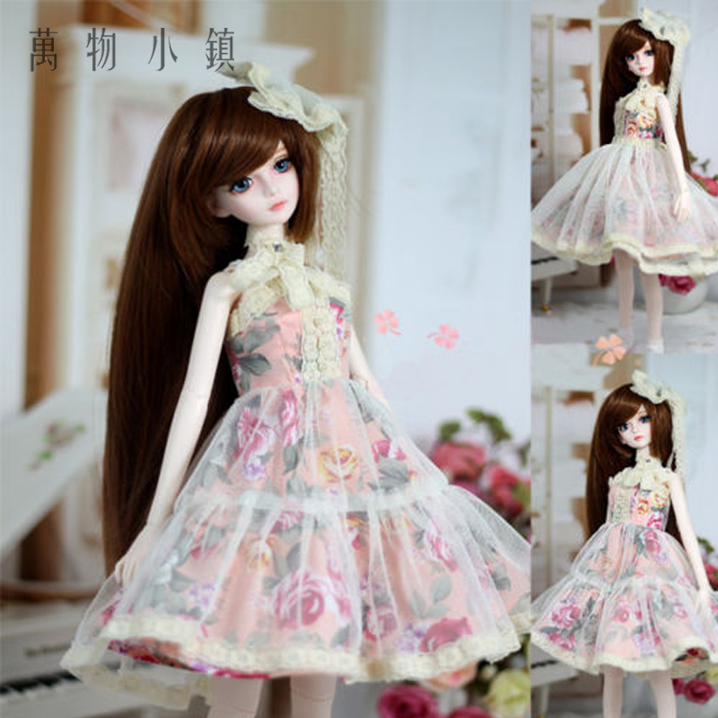 New 1/3 1/4 BJD SDMSD LUTS DOC LATI Doll Clothes Sweet Pink Lace Western Style Dress/Outfit/Suit pink lovely rabbit suit aminal outfit for bjd 1 3 dd dy girl doll clothes cw65