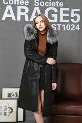 Double faced fox fur collar genuine leather lady suit longer section women coat fur faux suede.jpg 250x250
