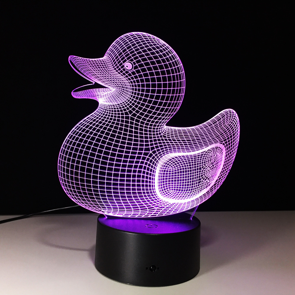 3D LED Night Light Novelty Visual USB Lampara Table Lamp Creative Baby Sleeping Light Fixture Cute Animal Duck Shape Lamp Decor ...