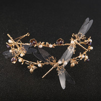 Gold Dragonfly Baroque Bride Tiaras Wedding Bridal Vintage Tiara Crown Hair Accessories Women Headpiece