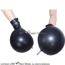 Black Short Sexy Inflatable Latex Gloves with Belts Buckles Rubber Mitts ST-0007