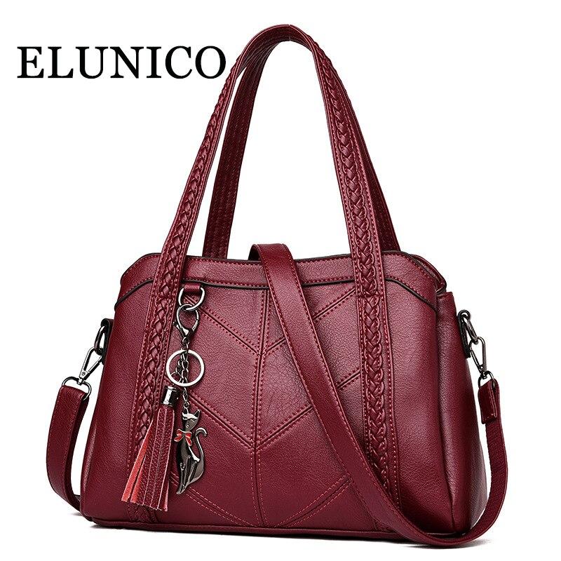 f7544d401013 ELUNICO Брендовые женские мягкие кожаные сумки лето 2018 г. Мода Большой  ёмкость Tote сумки для женщин хозяйственная сумка