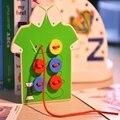 Crianças Brinquedos Educativos Montessori Contas Lacing Tabuleiro Sew em Botões de Educação infantil De Madeira Brinquedos Criança Auxiliares de Ensino/presentes D005