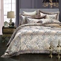KELUO Luxury Jacquard Bedding Set King Queen Size 4pcs Bed Linen Silk Cotton Duvet Cover Lace