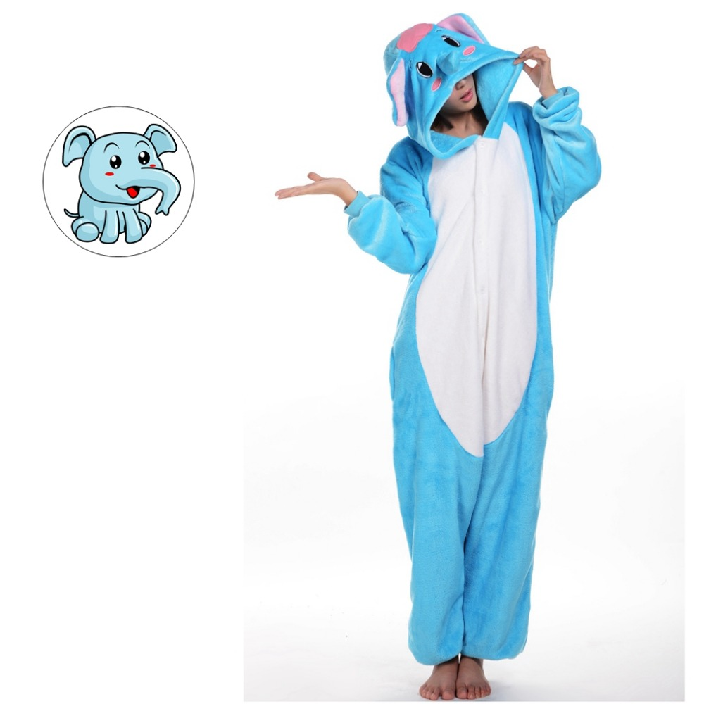 Elephant Cartoon Adult Soft Homewear Costume Animal Pajamas Sleepwear Onesies Pajama For Women Men Couples Girls