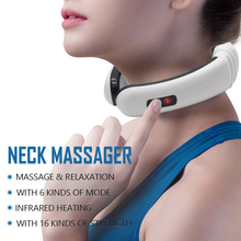 Drop shipping Electric Pulse Back and Neck Massager Far Infrared Heating Pain Relief Tool Health Care Relaxation