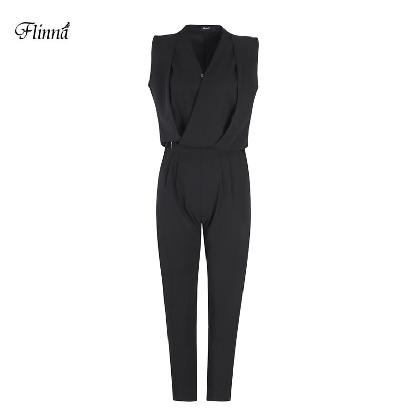 Women s Solid Sleeveless Formal Business Pant Jumpsuit Two Pieces Set Large Size V Neck Suit