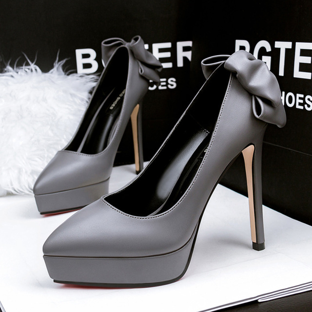 New Sexy High Heels Shoes Shallow Bowknot Single High-heeled Shoes Platform Pointed Toe Fashion Ladies Bow Office Pumps G2759-3