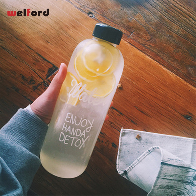 1000ml Fashion Scented Large Water Bottle with Bag Water Bottle Capacity Portable BPA Free Fruit Lemon Juice Drinking Bottle