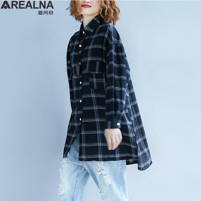 098561f1910 2018 Autumn Kimono Oversized Women s Vogue Tops and Blouses Cotton Linen  White Plaid Women Clothes Plus Size Long Shirts Blusas