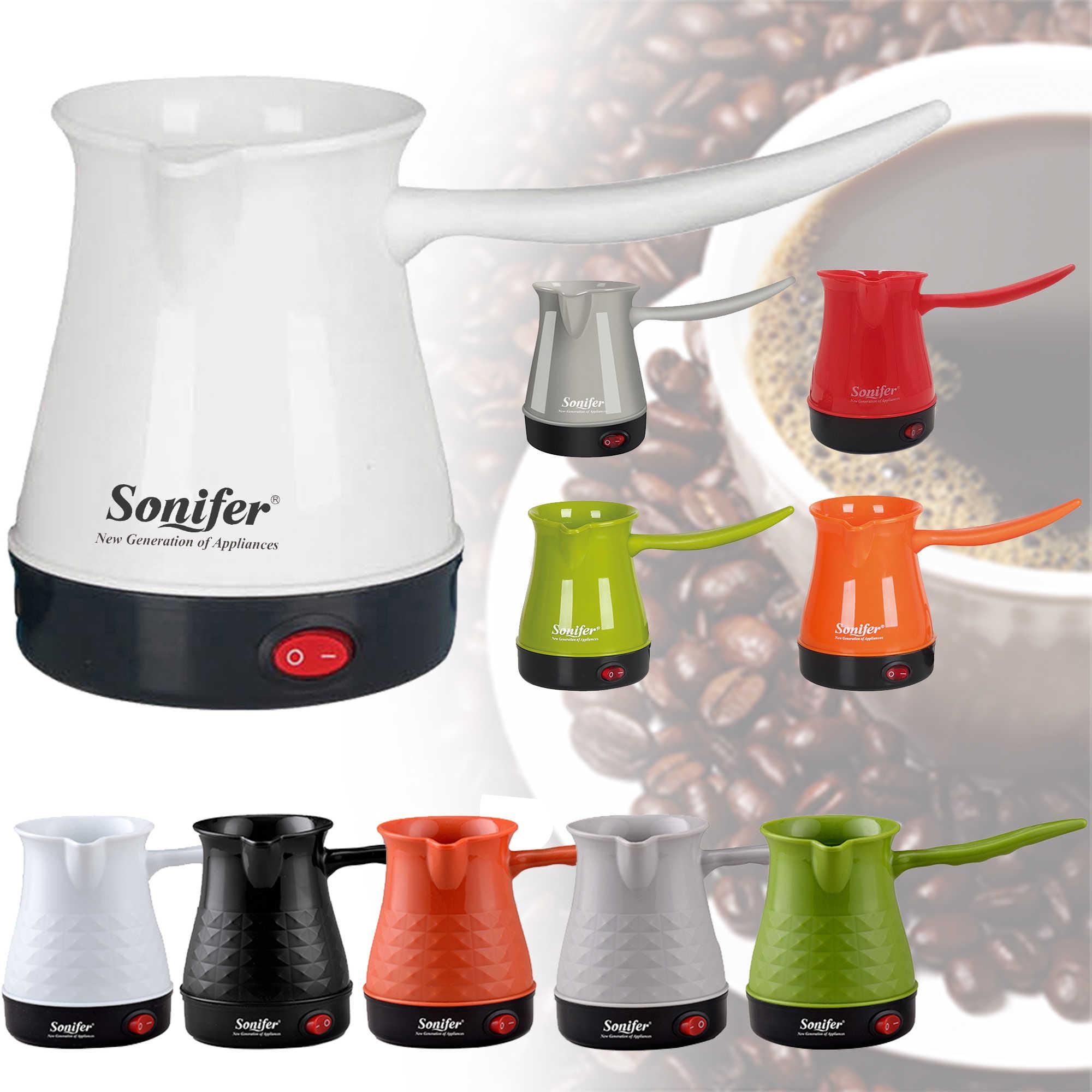 Renkli Mini kahve makinesi türkiye kahve makinesi taşınabilir elektrikli cezve haşlanmış süt kahve su ısıtıcısı hediye 220V Sonifer