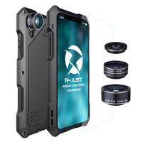 R JUST Metal Phone case for Iphone XS X 10 Aluminum Shockproof Waterproof phone cover with Fisheye and wide Angle lens