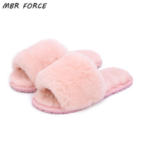 MBR FORCE Natural Sheepskin Wool Home Slippers Women Fur Slippers Woman Winter Indoor Slippers Warm Furry House Slippers Lady