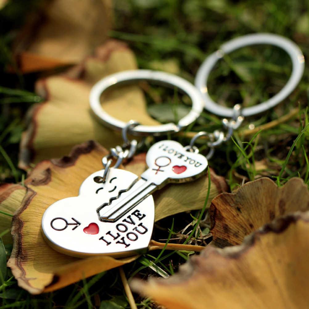 Llavero de corazón de moda amantes de Color plata llavero de amor regalo de San Valentín 1 par pareja te amo llavero de letras