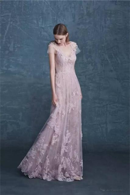 Pale Mauve Prom Dresses 2017 New Fashion O Neck Floor length short ...