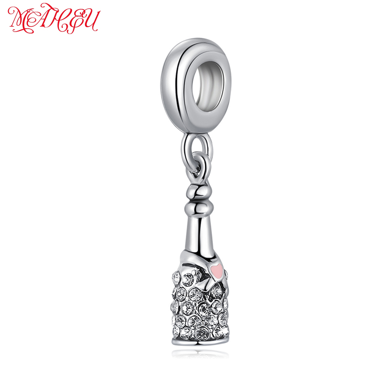 MaHeu 1Pcs Metal Silver Charms Sweet Christmas Full Crystal Beer Engrave Beads fit Women Gifts Necklace&Bracelets DIY Jewelry