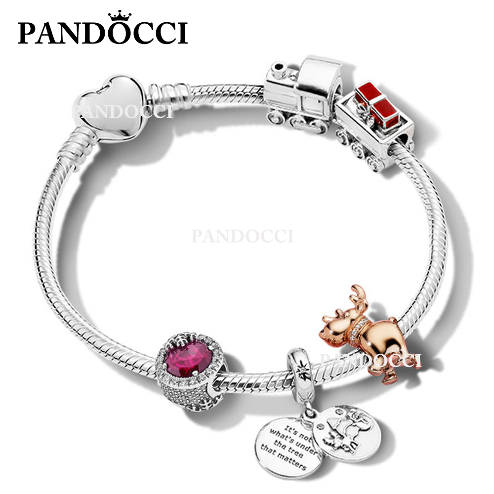 PANDOCCI 100% 925 Sterling Silver Happy Christmas Bracelet Set Snowflake Deer Train Charm Beaded Original Vintage Jewelry ZT0199PANDOCCI 100% 925 Sterling Silver Happy Christmas Bracelet Set Snowflake Deer Train Charm Beaded Original Vintage Jewelry ZT0199