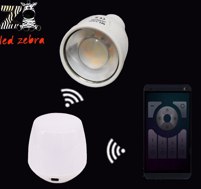 AC85-265v mi.light 2.4G GU10 4W led bulb cw ww led lamp,wireless wifi ibox led controller for cw ww led bulb