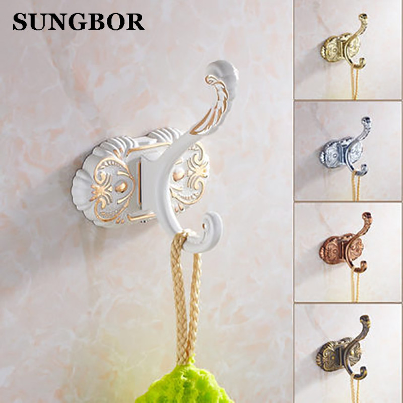 Coat Scroll Hooks Holder Door Wardrobe Robe Clothes Hangers for Bathroom Bedroom Zinc Alloy Ivory White SL-5801R