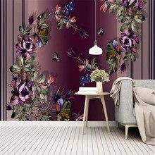 Custom wallpaper modern minimalistic geometric watercolor rose idyllic Nordic background wall painting