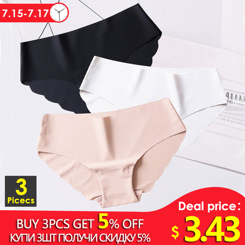 3pcs/set Seamles Ice Silk   Panties   For Women Sexy Low-rise Briefs Ultra-thin Underwear G-String Female Underpants Intimate #D