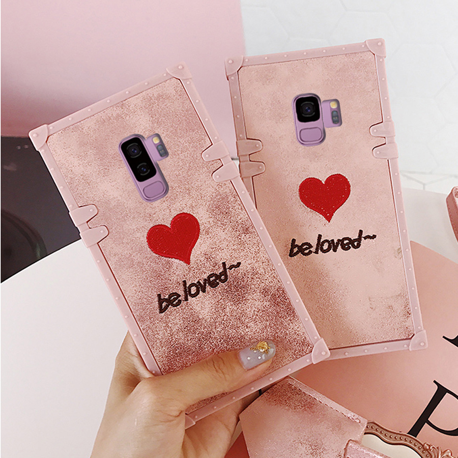 For samsung galaxy s9 plus s9 case cover luxury 3d embroidery love with strap soft silicon phone bag capa Ritozcase