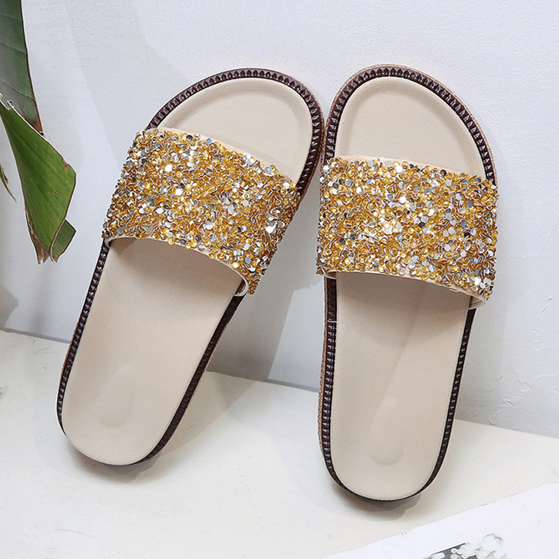 f3098eb0b76c ... Women Diamond Slippers PU Bling Rhinestone Slides Flat Indoor Flip  Flops Female Fashion Crystal Casual Beach Sandals. -49%. Click to enlarge