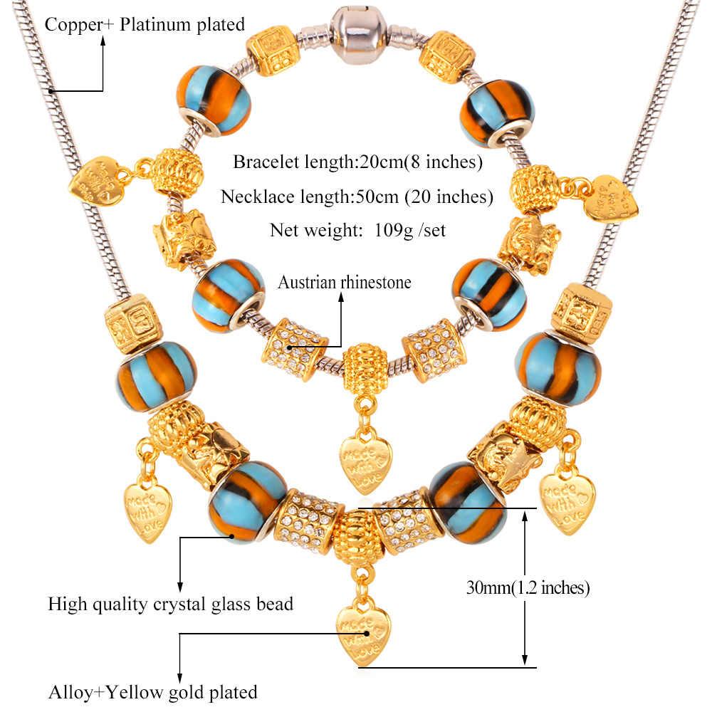 U7 Бусины Цепочки и ожерелья набор золото Цвет со стразами DIY сердце Цепочки и ожерелья Браслет Для женщин подарок партия комплект ювелирных изделий s597
