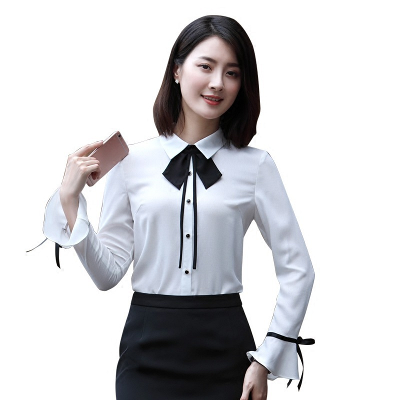 Fashion Horn Sleeve Shirt Woman Long Autumn Clothing New Pattern Bow Jacket Lace Leisure Time Occupation Ol Chiffon