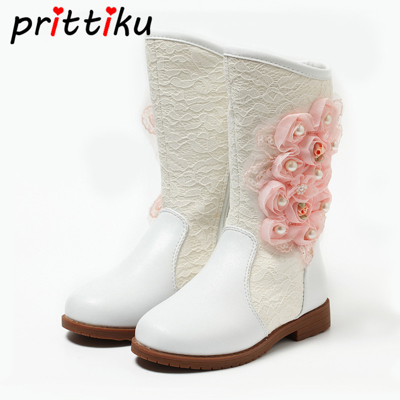 Toddler Girls Beaded Floral Heeled Snow Boots Little Kid Sheepskin Fur Princess High Booties Big Child Winter Warm Fashion Shoes snow toddler fur warm boots soft mid calf kids booties waterproof baby winter pink shoes little girls boys infant boot kt902
