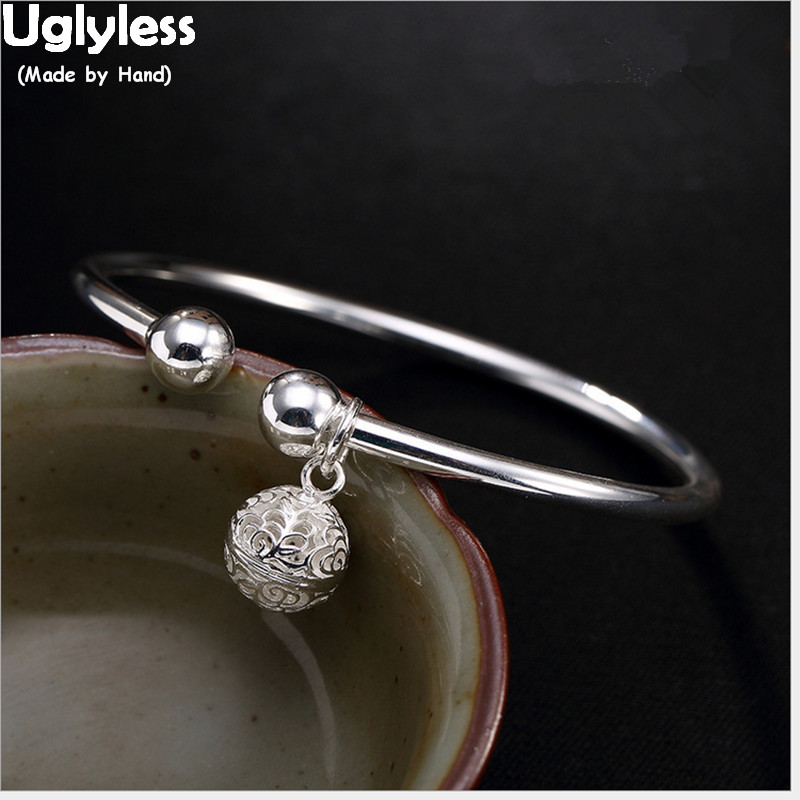 Uglyless Real S 990 Fine Silver Women Bangles Lovely Hollow Bell Charms Bangle Simple Handmade Jewelry High Quality Dress BijouxUglyless Real S 990 Fine Silver Women Bangles Lovely Hollow Bell Charms Bangle Simple Handmade Jewelry High Quality Dress Bijoux