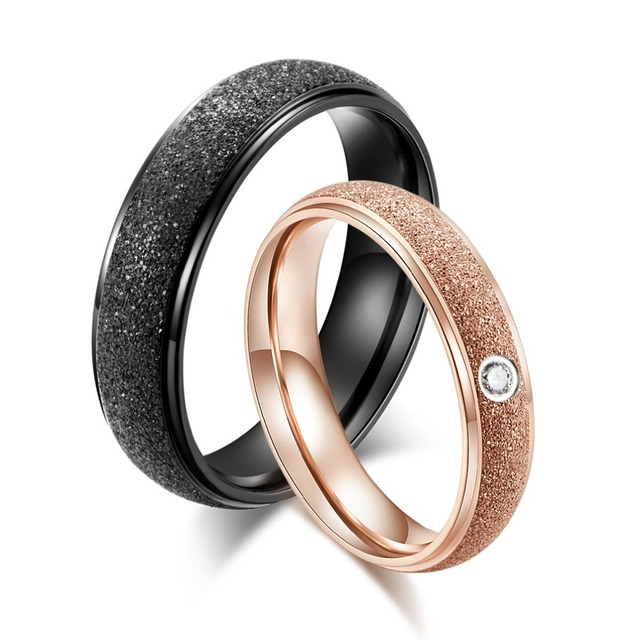 Black Wedding Rings Pairs Men Women Rose Gold Color