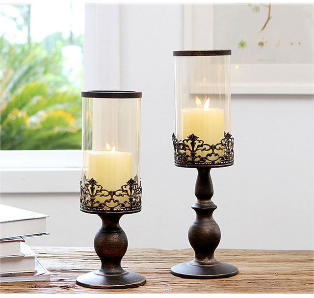 Modern Iron Metal Gl Candlestick Pillar Candles Holder Candlesticks Candle Stand For Home Bar Wedding