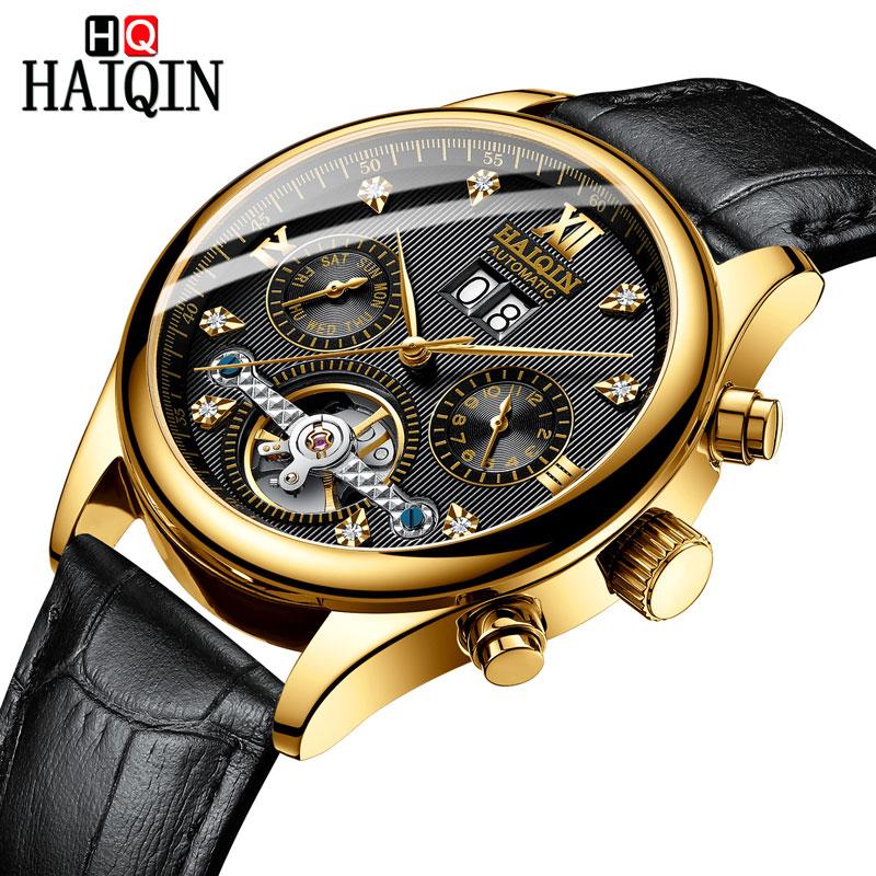 HAIQIN Men's watches Automatic mechanical Men Watches Business Watch men top brand luxury Military Waterproof Tourbillon Clock 7