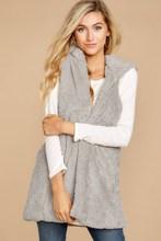 Womens Vest Winter Warm Hoodie Outwear Casual Coat Faux Fur Zip Up Sherpa Jacket Pockets
