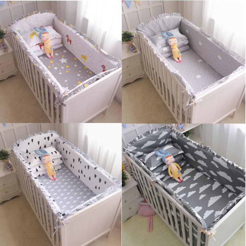 6Pcs Baby crib bedding Bumpers Cartoon Baby Bedding Bed Around Package Bed Sheets 100%Cotton Thickening Beautiful Unpick Wash