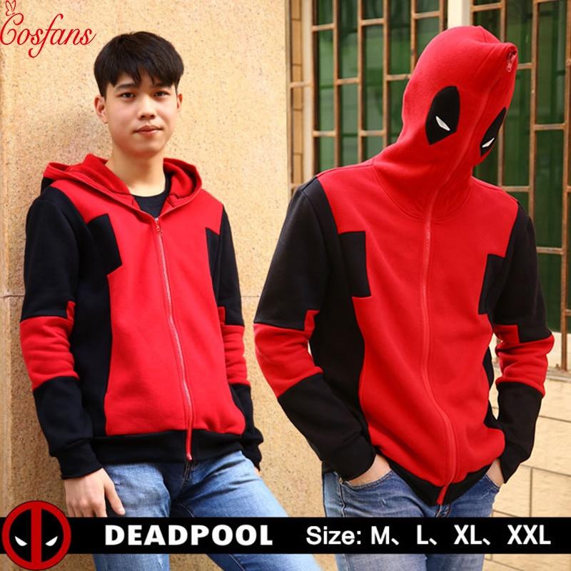 Deadpool cosplay costume Superhero Deadpool 2 Men's women Hoodie Casual Pullover Hoodie Sweatshirt Street Jacket Hip Hop 2018