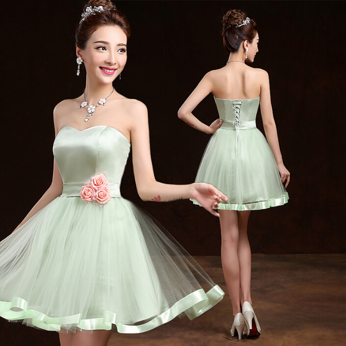 Evening Gowns For Wedding Guests: Mint Green Corset Formal Junior Girls Bridesmaid Short