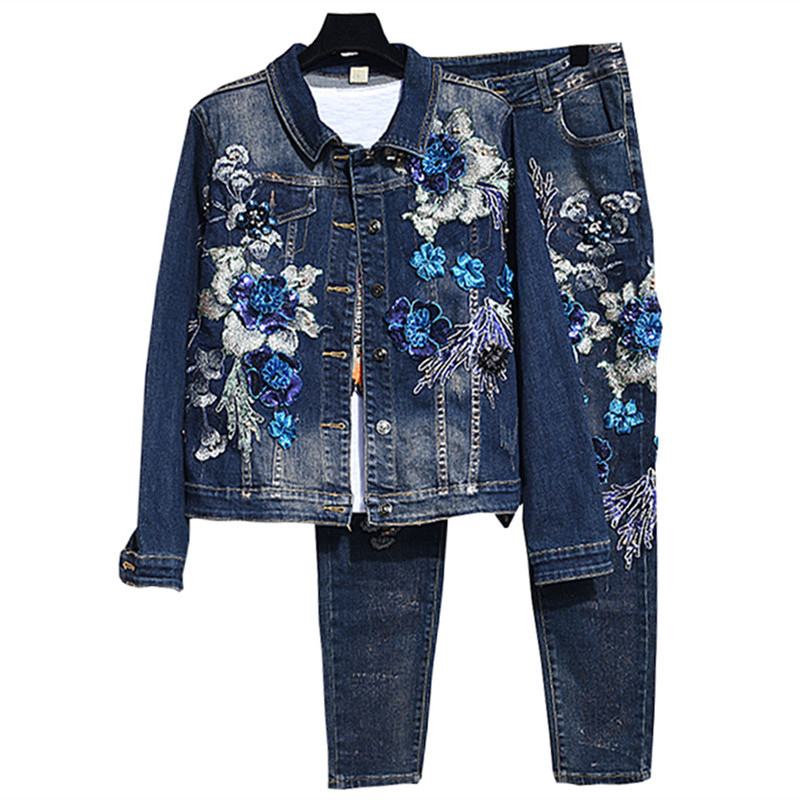 Jeans Denim Set Women Beading Flower 2 Piece Suits Female Sets Sport Suit For Girls Jeans Denim Sets Women Jacket Vintage