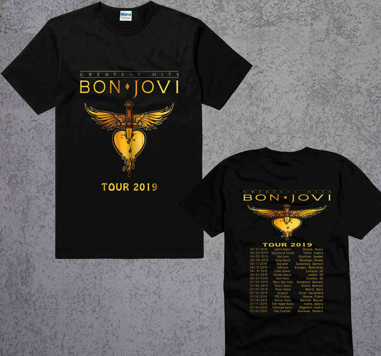 New Bon Jovi The Ressurection Music World Tour 2019 Black   T  -  Shirt   S To 3XL Summer Short Sleeves Cotton   T     Shirt   Fashion