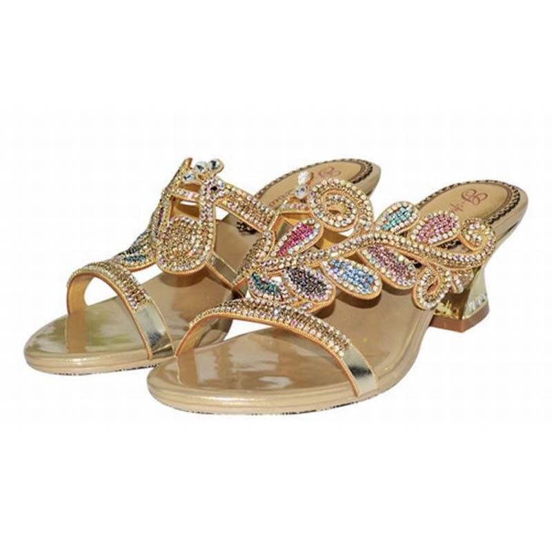 Vente 2018 Dames Hauts gold Talons Pantoufles Purple Cristal Chaussures Med De Noce Nouvelle Mode Chaude Luxe Sandales Femmes Confortable Casual FF5rw4q